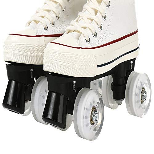 Onorner Rollschuhe mit leuchtenden Rädern, verstellbare Rollschuhe, zweireihige Rollschuhe, lustig, beleuchtet für Mädchen und Damen (weiß ohne Licht, 38)