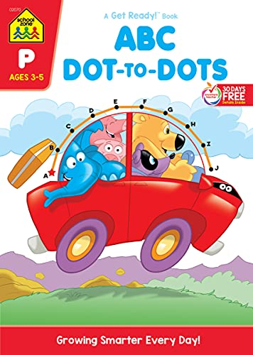 School Zone - ABC Dot-to-Dots Workbook - Ages 3 to 5, Preschool to Kindergarten, Connect the Dots, Alphabet, Alphabetical Order, Letter Puzzles, and More (School Zone Get Ready!™ Activity Book Series)