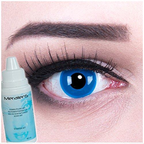 Farbige blaue Crazy Fun Kontaktlinsen 'Blue Angel' perfekt zu Fasching, Karneval und Halloween mit gratis Linsenbehälter + 60ml Pflegemittel Topqualität zu Karneval und Halloween