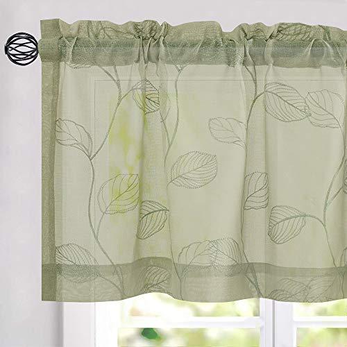 Sage Sheer Valances Rod Pocket Leaf Embroidered Design Window Valance Curtain for Living Room Bedroom 1 Panel 16 inch