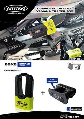 Artago 69X6 Premium schijfslot en houder Yamaha MT-09 en Tracer 900, toegelaten Sra, Sold Secure Gold, ART4, neongeel
