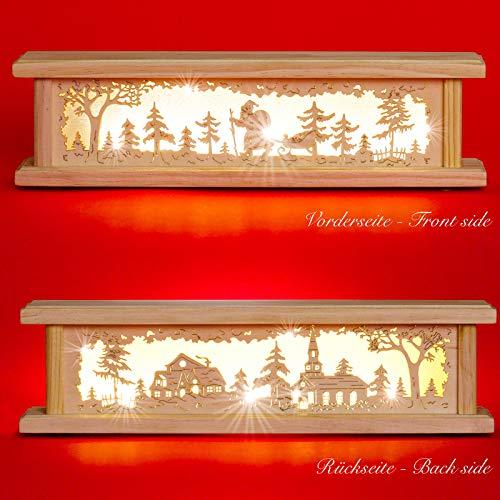SIKORA B22 beleuchtete LED Holz Schwibbogen Erhöhung inklusive Trafo 2 Motive 2 Längen, Farbe/Modell:Länge 44 cm (B20)