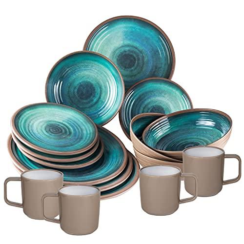 Melamin Geschirrset für 4 Personen - 16 Teile - Campinggeschirr - blau Tonoptik - elegant Essgeschirr spülmaschinengeeignet