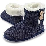 CityComfort Gestrickte & Neuheit Booties Indoor & Outdoor Slipper Boot (38/39 EU, Samt Stricken blau)