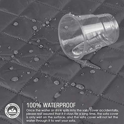 TAOCOCO Copridivano Poltrona Impermeabile Divano Protector Slipcovers (Grigio Scuro, 3 posti 165 * 190cm)