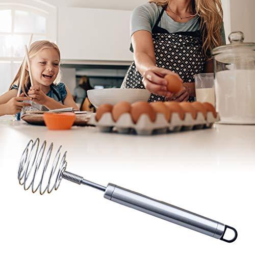 CJMING Trzepaczka do jajek, mieszadło spiralne ze stali nierdzewnej, ręczny mikser do trzepaczki, obrotowy ubijacz do jajek, mieszadło ręczne do mieszania, wrzeszczania, warzenia, narzędzia kuchenne