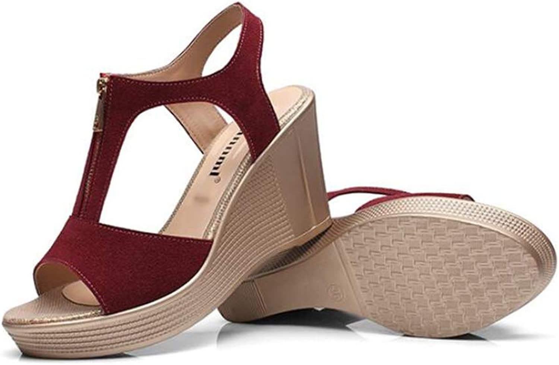 CHENSF Women's Peep Toe Front Zipper Wedge Sandals