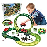 Dino Tracks with 2 Dinosaurs, 138pcs Dinosaur Tracks Race Toy for Kids Boys & Girls, Flexible Track Playset Build an Adventure Race Car, Track 360° Stunt Loop, Best Gifts for 3 4 5 6 7 8 Year & Up Old