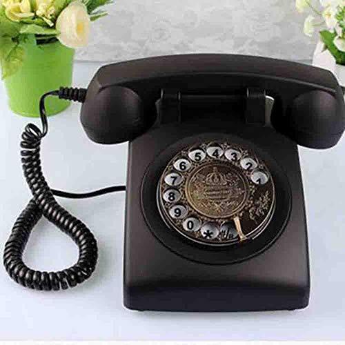 MEICHEN Startseite Rotary Antique Phone Basephone Retro Craft Plattenspieler Antikes Telefon Retro Telefon,Black