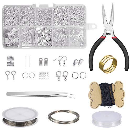 Dokpav Schmuckherstellung Set, Schmuckherstellungs Zubehör Set, Schmuckwerkzeuge Reparatur Kit, DIY Schmuck Basteln mit Zangen Set für Ohrringe Armband Halskette DIY Anfänger