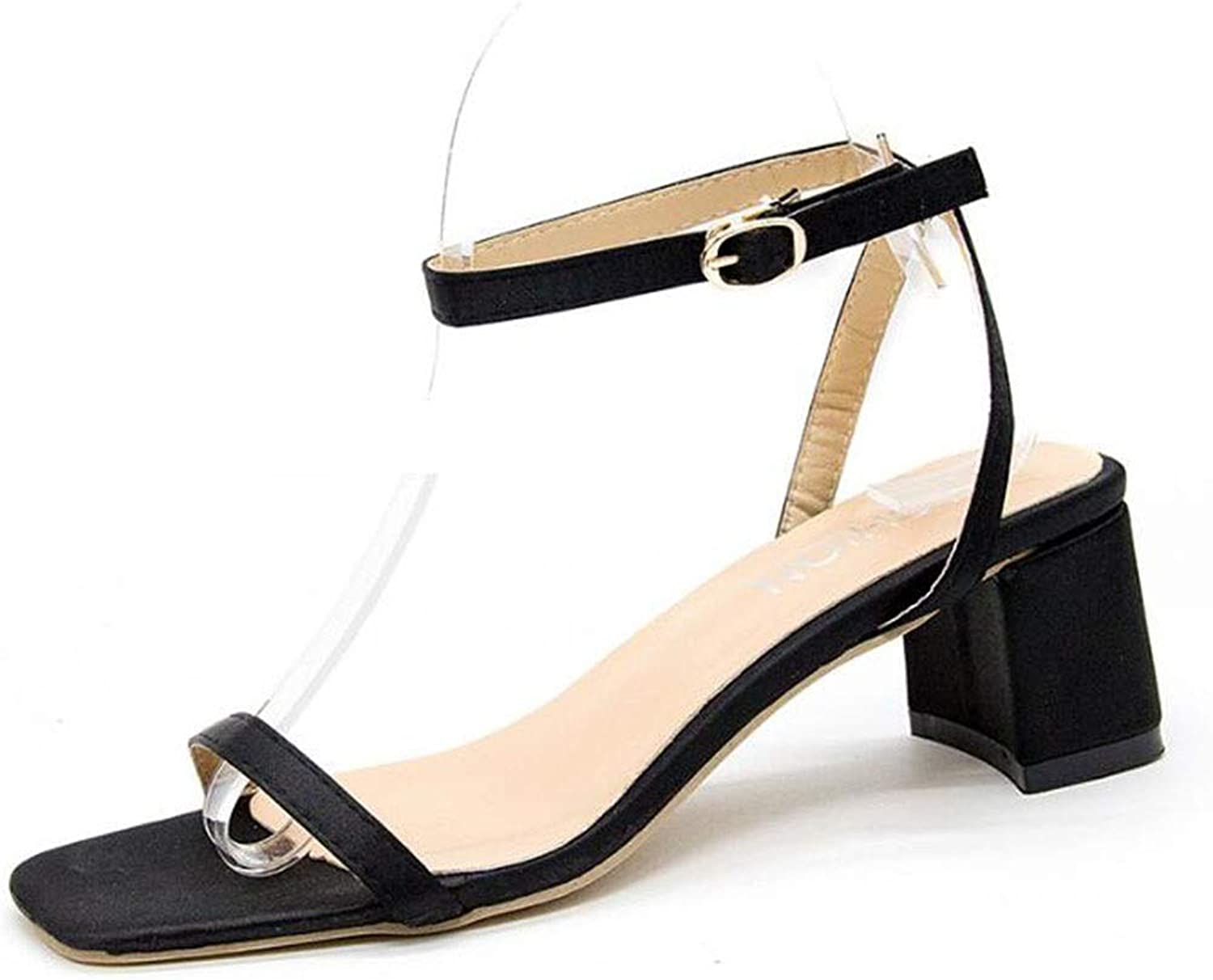 Summer New Sandals, Female Fairy, A Word Buckle, Thick with Students, Wild, Women's Sandals (color   Black, Size   235)