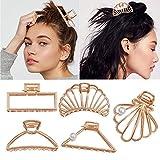 5 pièces pinces à cheveux en métal pince à cheveux creuse conception géométrique attraper la mâchoire Barrette pour femmes et filles (or)