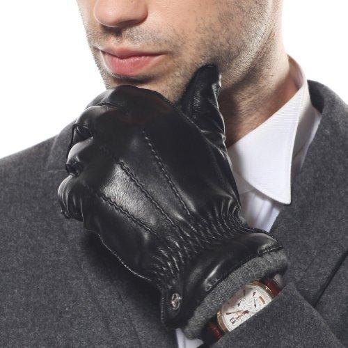 ELMA Men's Nappa Leather Winter Gloves Super Warm Cashmere Lining Elasticated Cuff (L, Black)