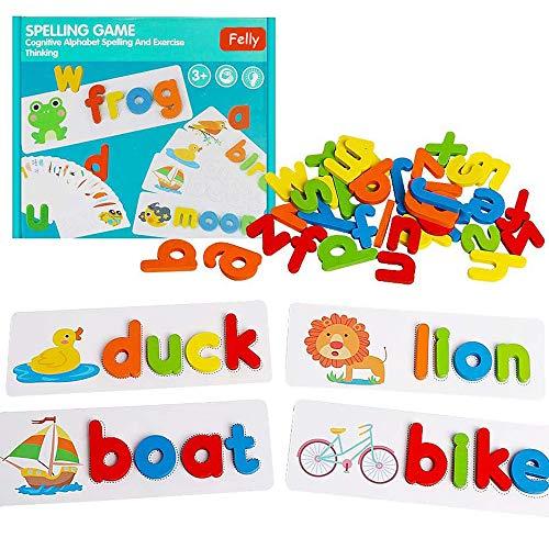 Felly Juguetes Montessori, Alfabeto Rompecabezas de Madera, Puzzles Educativos para Bebé Juegos niños niña 4 5 6 7 años(28 Tarjetas y 52 Letras del Alfabeto)