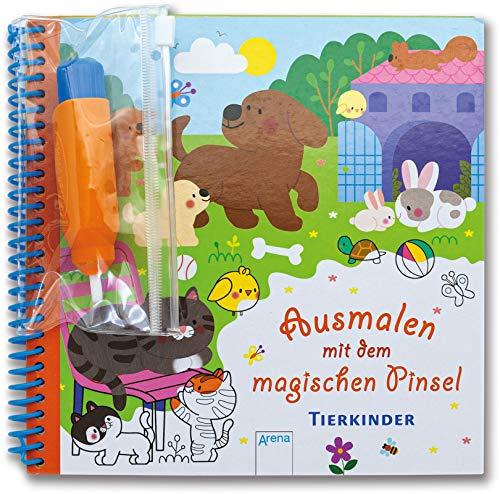Ausmalen mit dem magischen Pinsel. Tierkinder: Malbuch mit Wassertankstift ab 3 Jahren