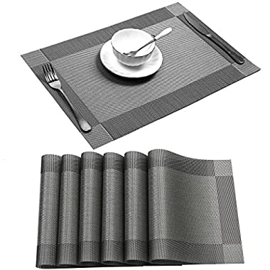 Placemat,U'Artlines Crossweave Woven Vinyl Non-slip Insulation Placemat Washable Table Mats Set of 6 (6pcs placemats, Grey)