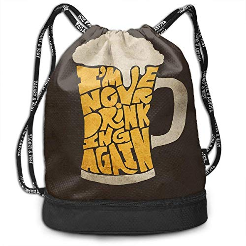 Not Applicable Kordelzug Rucksack, Vintage Bier Rucksack Outdoor String Bag 39x41x17.5cm