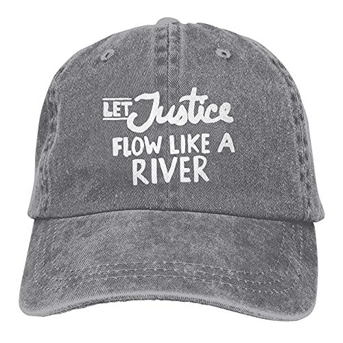 Gymini Let Justice Flow Like A River Hats Algodón Lavable Gorras De Béisbol Ajustable Para Hombre Mujer Gris