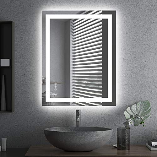 Amorho 70x90cm Rectangular Espejo Baño Espejo de Pared Espejo Colgante Dormitorio Función Antivaho con Luz LED Interruptor Táctil 6 Temperatura de Color Ajustable