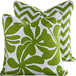 Chartreuse Twirlies Collection - 20 Double-sided Throw Pillow Cover