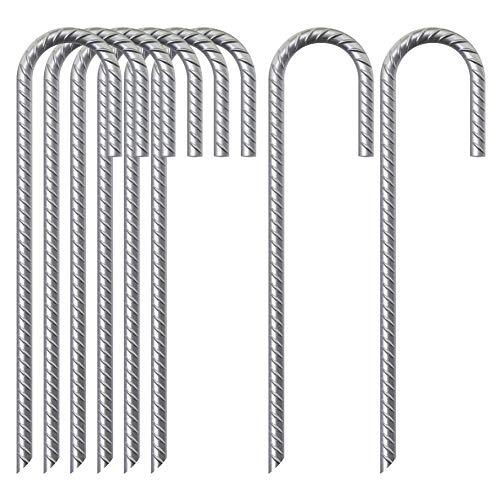 Athemeet Estacas De Tierra Spikes Fence Carpa Carpa Estacas De Metal Clavijas Clavijas De Tierra De Jardín 8pcs Pila Fijo