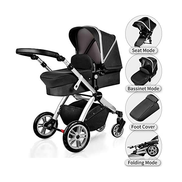 Pushchair 2 in 1,Upgrade Baby Stroller with Independent Seat and Bassinet Combo Pram,Foot muff and Cup Holder 7 Gifts,(Black) HOT MOM INTIMATE SERVICE: FBA prime service,free shipping, 2-year warranty period, accessories parts can be replaced and repaired,180 days unsatisfied full refund.Passed the United States baby stroller Standard Test ASTM F833-15. 7 FREE GIFTS:Stroller seat、bassinet、Rain Cover、mosquito net、Cup holder、Wrist band、car seat adapter.Reversible, you can face your mother, you can also face the outside world. UPGRADED MATERIAL:Say goodbye to Lycra fabric and Oxford fabric,use the upgraded down cotton fabric in the seat,bassinet and canopy design,which is specially designed for the newborn baby's comfort and more skin friendly.Sweet sleep for baby. 5