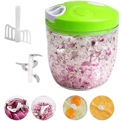 Handmatige Food Chopper Processor, 5 Blades Pull String Multifunctionele Vleesmolen Mixer/Blender Plantaardige Ui voor Keuken Fruit Shredders Slicers Processor, 900 ML