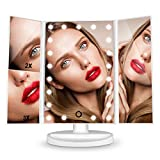HAMSWAN Espejo de Mesa, [Regalos Para Madre] Espejo de Maquillaje Profesional Tríptico con Aumento 1x, 2X, 3X, Pantalla Táctil en Iluminacíon 21 Led, Espejo Carga con USB o Batería, Adjustable 180º