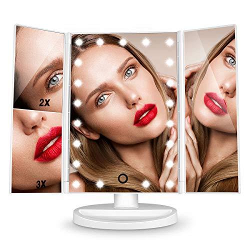 HAMSWAN Schminkspiegel, 3 Seiten Kosmetikspiegel Tischspiegel mit 21 LED faltbar dimmbar 180 Grad einstellbar Drehung 1X 2X 3X, MEHRWEG