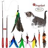 猫じゃらしAngelpet じゃれ猫 猫のお好みじゃらし 猫のおもちゃ 天然鳥の羽棒鈴付き (レッド(8個セット))