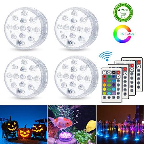 Unterwasser Licht, Zorara 4 Stück Poolbeleuchtung RGB Farbwechsel 13 LED Unterwasserlicht mit Fernbedienung IP68 Wasserdichte Teichbeleuchtung für Vase Base Party, Weihnachten, Halloween, Schwimmbad