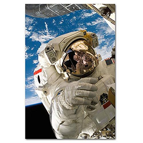 mmzki Astronauten Trinken Bier auf dem Mond Amerikanische dekorative Malerei und Ölspraymalerei Leinwand Wandkunst Home Decor Poster-60X80cm_no_Frame_