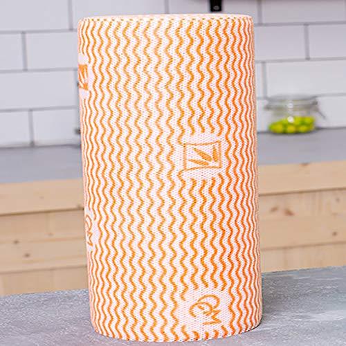 HE-XSHDTT Einweglappen für die Küche, verdickte, Nicht fettende, Faule Lappen, saugfähige und Wiederverwendbare Reinigungstücher (Vier Rollen),Orange