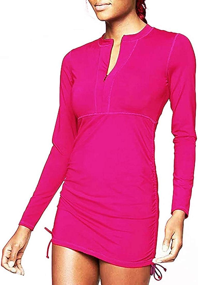 Women's UPF 50+ Sun Protection Long Sleeve Swimsuit Zip Top Guard Wetsuit Swimsuit
