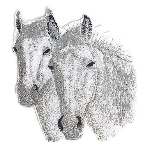 BeyondVision Individueel en uniek paard geborduurd ijzer naaien patches 4,5 x5 wit, zwart, bruin, grijs