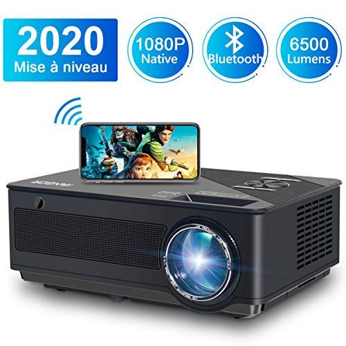 petit un compact Projecteur Wi-Fi et Bluetooth sans fil 1080P – Projecteur de plafond FANGOR Full HD 4K,…