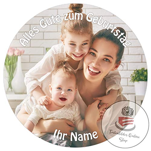 Tortenaufleger mit Wunschfoto und Wunschtext Tortenbild Zuckerbild Tortenplatte mit eigenem Foto und Text (Zuckerpapier Rund 20cm)