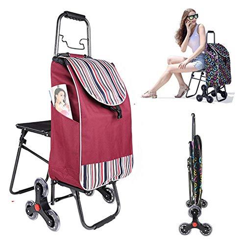 Einkaufstrolley 39.4L mit Abnehmbare & regenfeste Tasche mit Sitz -Großer Trolley klappbar mit großen Rädern bis 150kg Belastbar