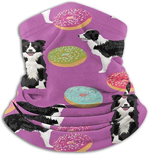 HHUAN Border Collie Donuts - Funda de forro polar unisex con diseño de donuts, ideal para acolchar el cuello, bufanda mágica para el polvo al aire libre