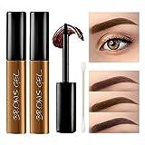 KXAMELIE 2 Pcs Peel off Tattoo Eyebrow Gel, Natural Eyebrow Cream, Long-Lasting Waterproof Sweat-Proof Eyebrow Tint,Peel Off Brow Tattoo Makeup, Eyebrow Gel Cream-Natural Brown,2.64oz