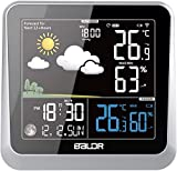 BALDR Wireless Weather Station, Indoor Outdoor Thermometer Hygrometer, Temperature Monitor Digital Humidity Meter Gauge with Color LCD Display, Forecast Station, Alarm Clock, Snooze, Backlight