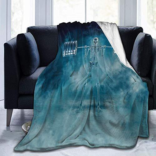 Phantom Squat 3D Scary Fitness Skelett Hocken Schwere Langhantel Durch Rauch,Gemütliche Couchdecke,Bett Warme Decke,Flanell Warme Decke,Plüsch Flanell Decke,Couch Warme Decke,Flanell Fleecedecke