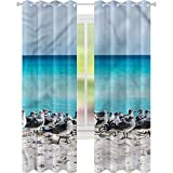 Cortina para ventana de gaviotas en la playa de Cancún W52 x L84 cortina de oscurecimiento de habitación para sala de estar