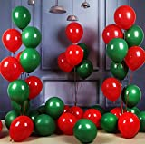 JOYYU 100PCS 12 Inch Red and Green Pearl Balloons with Matching Color Ribbons for Christmas Balloons Garland Decorations
