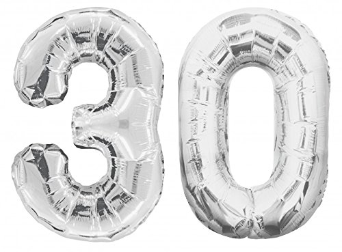 Folies ballon getal 30 in zilver - XXL reuzenaantal 86 cm voor 30e verjaardag in zilver