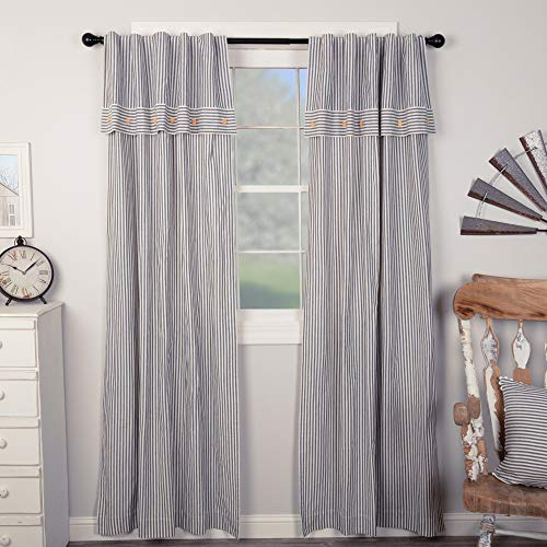 """Piper Classics Farmhouse Ticking Stripe Blue Panel Curtains, Set of 2, 96"""" Long with Attached Valance and Button Accents, Long Drapes"""