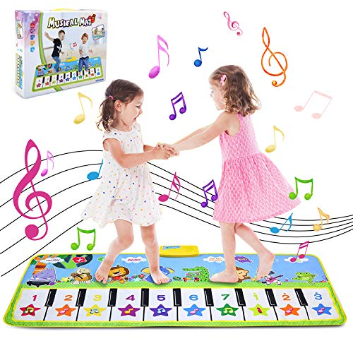 NEWSTYLE Alfombra para Piano,Alfombrillas de Música para Niños Alfombrilla de Baile Teclado Estera de Alfombra Touch Juego Musical Portátil Electrónico Educativo Musical Tapete,135 x 59 cm