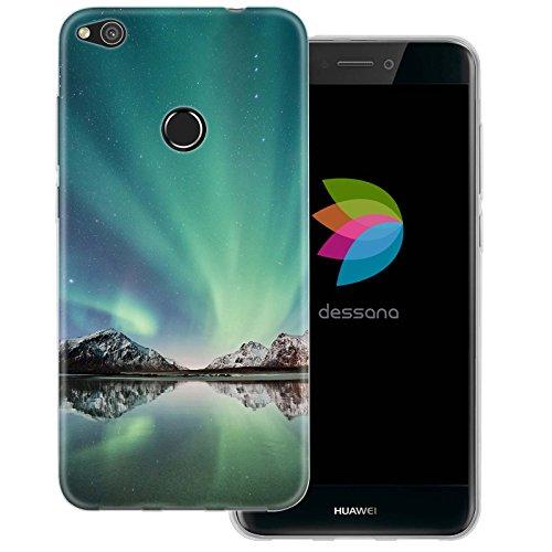 dessana Polarlicht transparente Silikon TPU Schutzhülle 0,7mm dünne Handy Tasche Soft Case für Huawei P8 Lite (2017) Polarlicht Nordisland