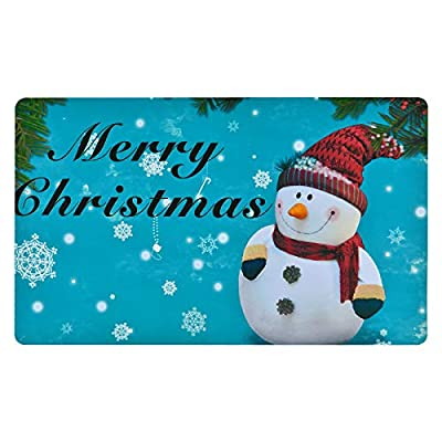 Christmas Area Rug, Snowman and Snowflake Doormat, Xmas Merry Christmas Floor Mat with Rubber Backing Non-Slip for Kitchen Bedroom Living Room Decoration, 18 x 30 inch