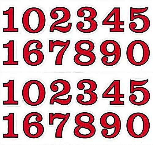 (シャシャン)XIAXIN 防水 PVC製 ナンバー 数字 ステッカー セット 耐候 耐水 数字 キャラクター ミニサイズ 表札 スーツケース ネームプレート ロッカー 屋内外 兼用 TSS-110 (2点, レッドXブラック)